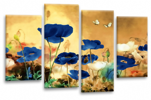 CHINESE FLORAL FLOWER SPLIT MULTI 4 PANEL Beige Blue White  PICTURE